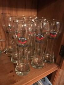 9 x Erdinger pint glasses