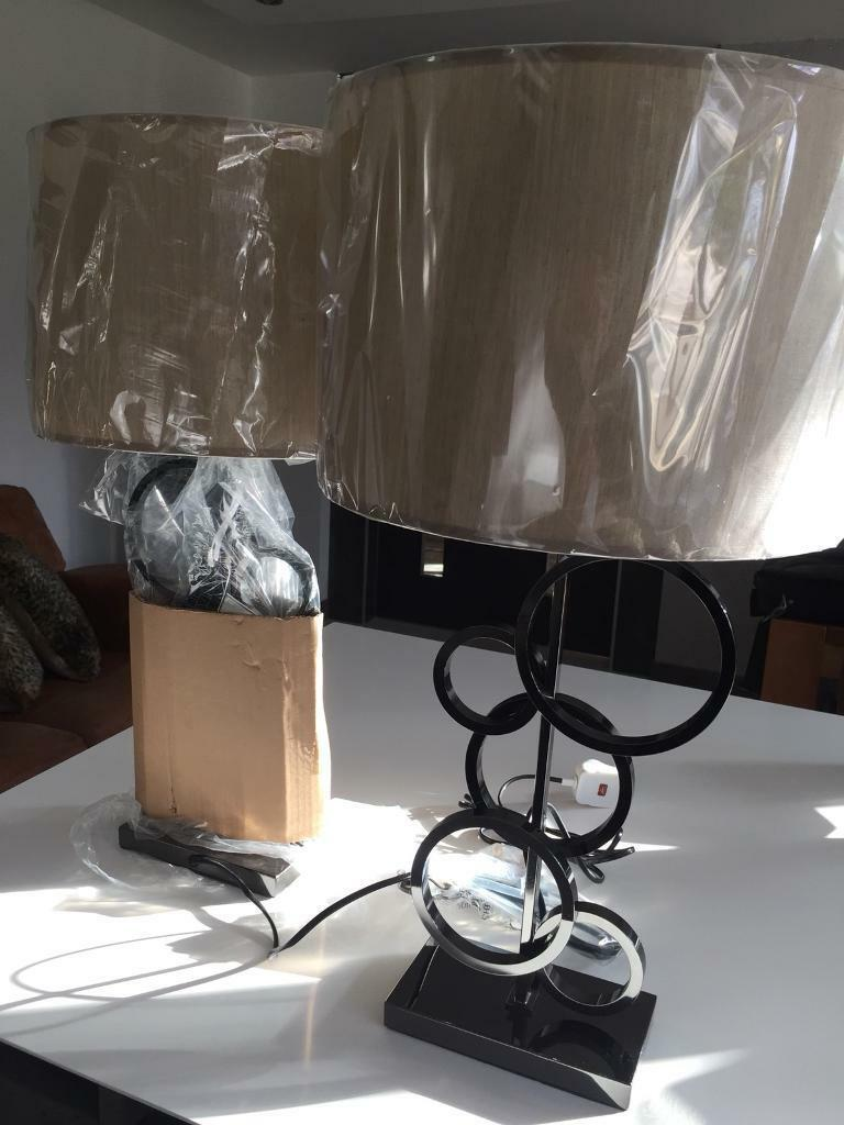 Ivory cream lampshades gunmetal bases x2 bedside table/lounge lamps