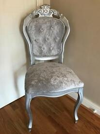 BEAUTIFUL FRENCH LOUIS CRUSHED VELVET DECORATIVE CHAIR/DINING CHAIR (4 AVAILABLE)