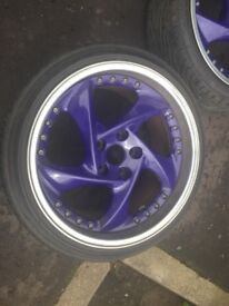 18 inch 5x112 one of a kind Rare custom oz split rims with all good tyres front 18x8. 5 back 18x10.5