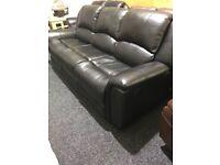 Black leather recliner 3/2 suite