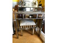 Small mirrored dressing table, matching stool