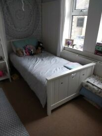 Girls wooden white single bed