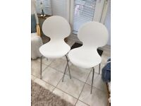2 x White moulded Kitchen Chairs
