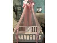 Baby swing crib with extra bedding mattress and canopy