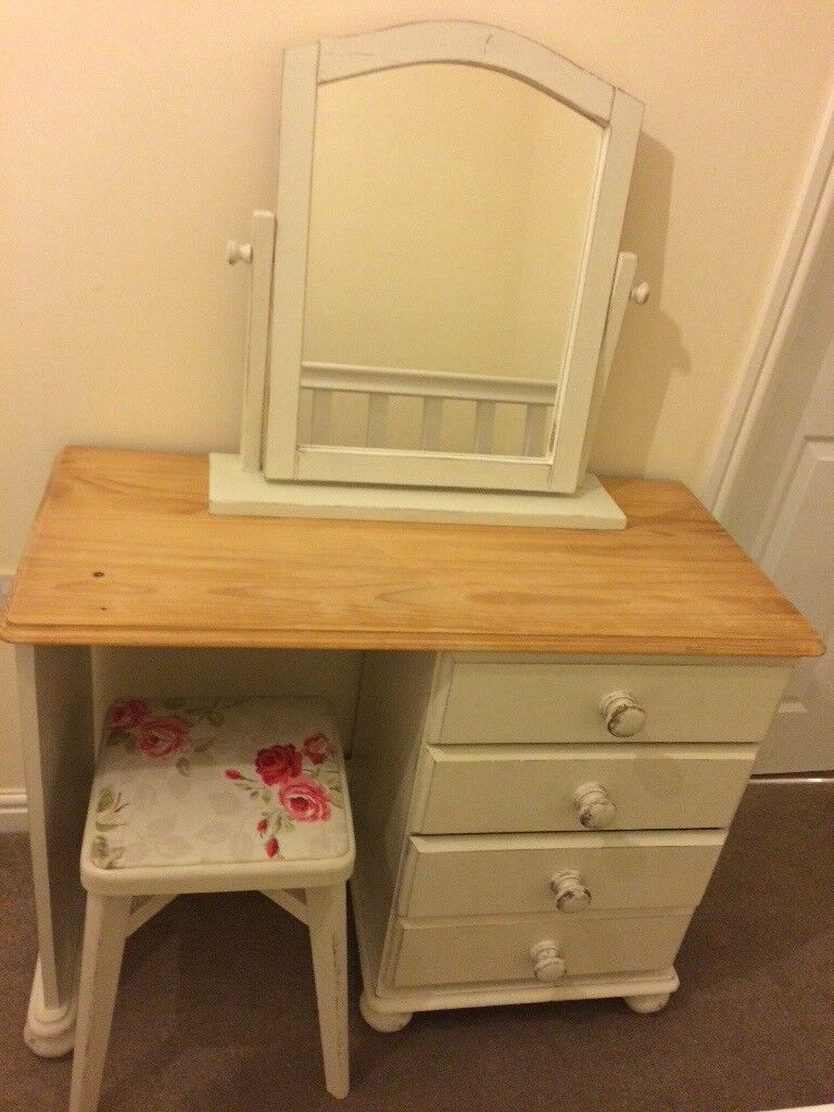 Dressing Table White Shabby Chic with Mirror and Stall