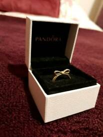 Pandora gold bow ring