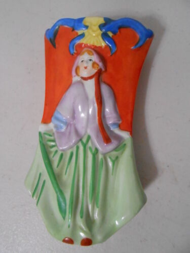 Vintage Hand Painted Victorian Woman Wall Pocket Made In Japan