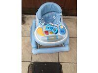 Blue baby walker and rocker