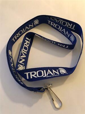 NEW Trojan Brand Condoms Blue White - White Lanyard