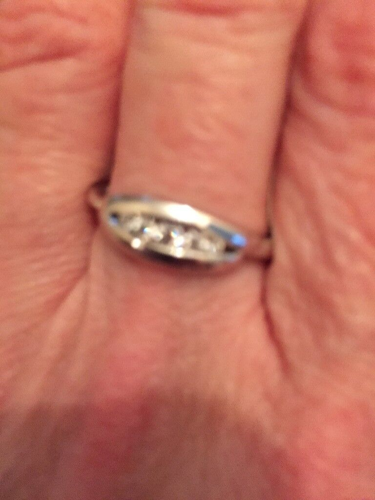 9ct White Gold Five Stone Diamond Ring Ideal As A Valentine Gift