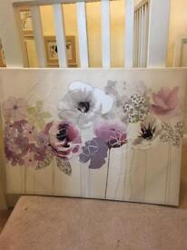 Pink and purple floral canvas