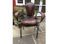 20thC French Industrial Vintage Retro Saddle Leather Iron Armchairs Dining Chairs Bedroom Chair