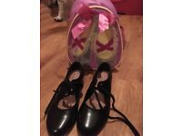 Girls tap shoes and dance bag