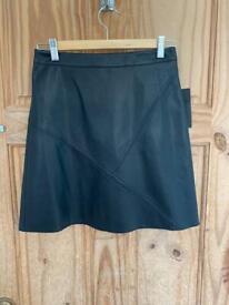 ZARA faux leather, black skirt, size: S.