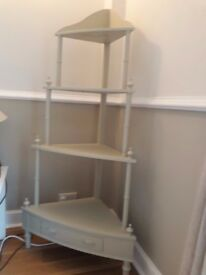 Gorgeous corner shelf unit painted in Farrow & Ball Old White -NOW REDUCED