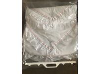 Pram cover (white with silver and pink trim)