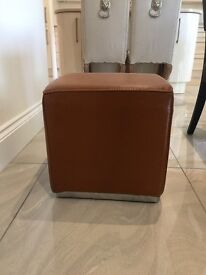 Tan Leather Stool / Cube / Footstool / Side Table with Chrome Trim