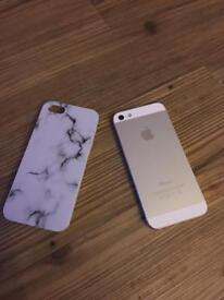 Apple iPhone 5 white and silver - working! 16GB And marble hard phone case