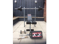 Weider Training Station Pro 9400 Multi-Gym with Workbench, Lifting Bar and Weights