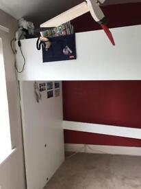 Ikea loft bed with wardrobe and shelves