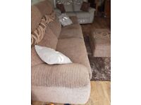 3 seater sofa & 2 seater sofa & pouffe only 2 years old no damage at all