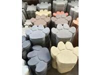 🐾 Large Concrete / Stone Paw Print Ornament / Stepping Stone ~ Cat / Dog