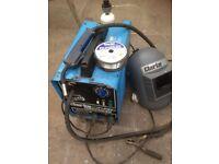 Clarke Turbo Weld 100 EN mig welder with mig welding wire, gas bottle and welding mask,