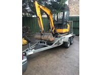 JCB mini digger 2003 with trailer