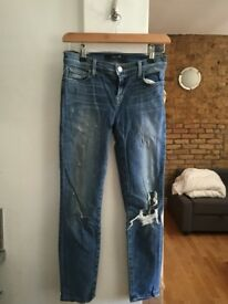 Women's J brand denim blue jeans (ripped style) Size 25