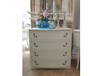 Lovely shabby chic chest of four drawers