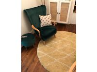 Yellow Pattern Moroccan 5' Round shag rug Brand New RRP£129