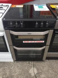 New / graded electric cooker 60cm wide double oven ceramic hob 12 months warranty!!!!