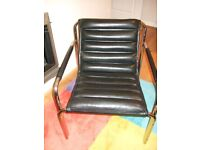 Genuine All Leather Possibly Retro Griddle Style Chair. Excellent Condt.