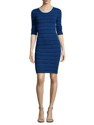 Navy Blue Arc (ARC Navy-Blue & Black Striped MELANIE Textured Fitted Bodycon Dress S NEW $398)