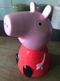 PEPPA PIG POTTERY MONEY BOX, IN GREAT CONDITION.