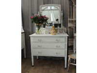 Lovely shabby chic oak Edwardian dressing table with three drawers by Eclectivo