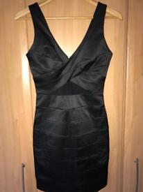 MISS SELFRIDGE BLACK SATIN EFFECT MINI BODYCON DRESS. SIZE 8
