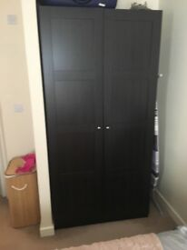 Pax IKEA double wardrobe with shelves, trays and rail