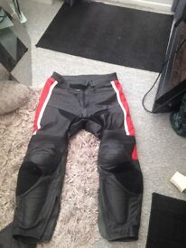 Black leather motorbike trousers