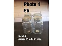 Kilner jars and clip top jars