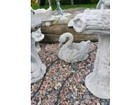 Pair of Swan Concrete Planters Garden