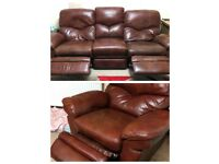 Leather settee and chair - electric recliners