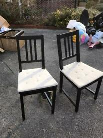 Black IKEA dining chairs STEFAN x4