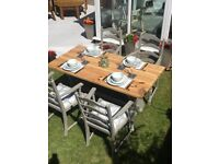 Refurbished Shabby Chic Solid Pine Kitchen Dining Table and Four Chairs