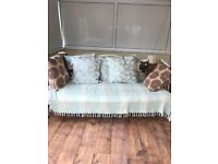 Day Trundle Bed 3ft Single Crystal Swirl Metal Day Bed In Cream