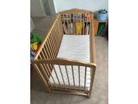 Kids Children's Wooden COT in EXCELLENT Condition With Free Mattress -Baby to Toddler
