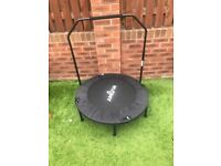 Fitness trampoline with stability bar