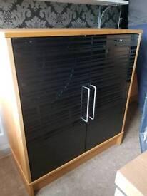 Black glass door cupboard