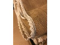 Hessian table runners with lace trim - Perfect of Weddings